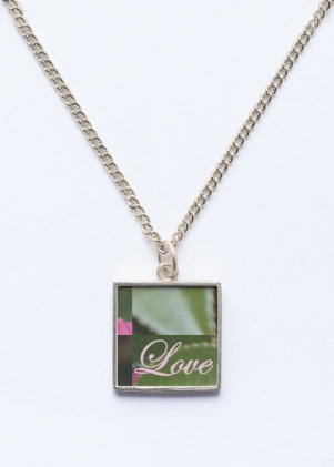 """LOVE"" BEVELED SQUARE DROP PENDANT"